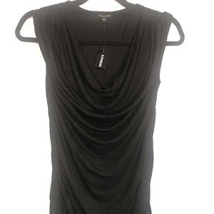 Express Black Ruched Fitted Sleeve Top S